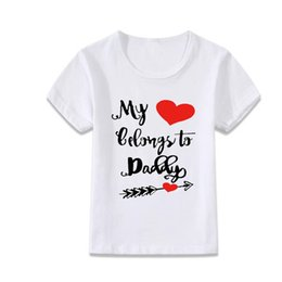 Wholesale Dress Children Heart - heart belong to daddy summer fit t-shirt wholesale tee shirt dress shirts kids child baseball tee