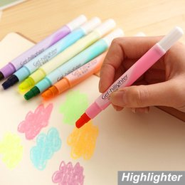 Wholesale Finecolour Markers Wholesale - Wholesale-6 pcs Lot Candy gel highlighter pen Lumina finecolour paint marker Crayon Stationery zakka Office material School supplies 6768