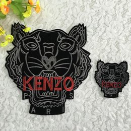 Wholesale Applique Badges Patches - 20pcs Tiger Jacket Patch For Clothing Sewing Patches parches ropa Embroidered Patchwork Parent-child Cloth Biker Badge Applique Accessories