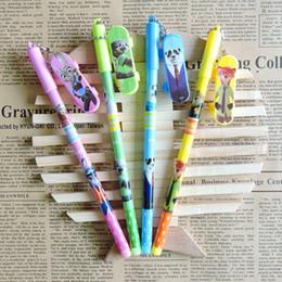 Wholesale Souvenirs Pens - Wholesale- 12PCS Caroon Movie Zootopia Gel Pen Kids birthday party supplies decoration gift souvenirs girl boy souvenirs baby shower