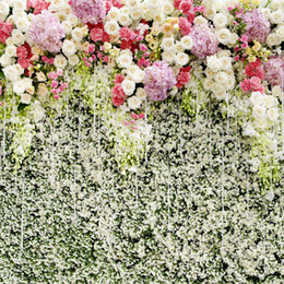 Wholesale Flower Curtain Wall - 10 x 10 ft White Pink Lilac Flower Wall Backdrop Photography Wedding Stage Curtain Photo Studio Background Floral