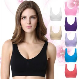 Wholesale Strap Vibration - Sport Yoga Bras Gym Fitness Bra Women Seamless Racerback Anti-Vibration Tank Elastic Top Breathable Vest Shirts Padded Underwear OOA1961