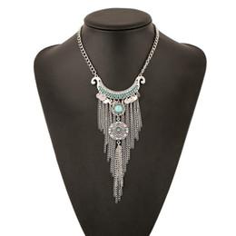 Wholesale Black Tassel Gemstone - Fashion Europe Style Gemstone Clavicle Chain Necklace Pendant Sequined Tassels Carved Inlay Imitation Diamonds Retro Necklace