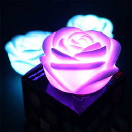 Wholesale Battery Powered Rose Light - Wholesale- Christmas Party Romantic Rose Flower LED Light Night luminaria led color change nightlight children's lamp battery powered