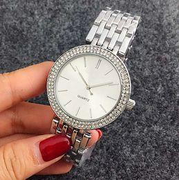 Wholesale Bracelets Modern - Top quality fashion watches simple design Double diamond Crystal rhinestone women watch silver bracelet stainless steel wrist watch clocks