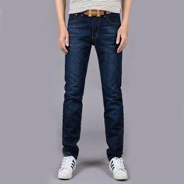 Wholesale Black Lighting Slacks - Four Seasons Can Wear Men's Fashion Brand Slim Straight Jeans Waist Young People Straight Slacks Quality Men Jeans