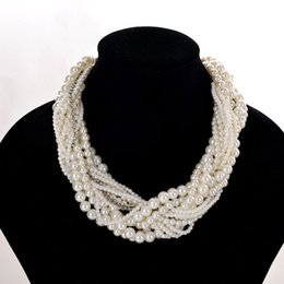 Wholesale Chunky Silver Link Necklace - Elegant High Quality Multi-Layer Pearl Choker Necklaces Chunky Statement Jewelry Faux Pearl Collar Necklaces & Pendants for Women 9262