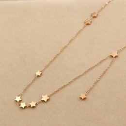 Wholesale Eastern Star Necklace - 2017 new version Nine stars stitching a short necklace for female Korean fashion titanium steel women necklace do not fade Five-pointed