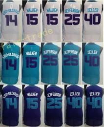Wholesale Shirts Basketball - Best Quality 15 Kemba Walker 25 Al Jefferson Jersey 14 Michael Kidd Gilchrist Shirt Uniform 40 Cody Zeller Home Road Away Purple Green White