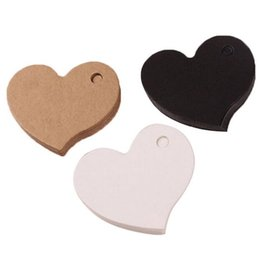 Wholesale Favor Tags Labels - 4.5*4cm Heart Shape Kraft Paper Card Wedding Favour Gift Tag DIY Tag Price Label Party Favor G692