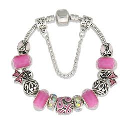 Accessoires de cancer du sein en Ligne-Femmes Bracelets Sensibilisation Au Cancer Du Sein Rose Ruban Strass Perles Européennes Bracelets Bracelets Bracelets Pour Femmes Bijoux Faits À La Main accessoires