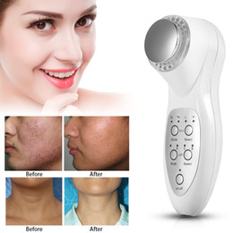 Wholesale Photon Skin Rejuvenation - 2017 Portable 3Mhz ultrasonic 7 colors Photon Ultrasound LED Light Therapy Anti-aging Skin Care Beauty Massager