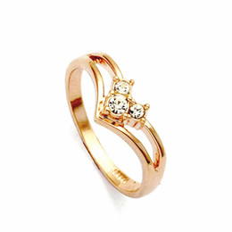 Wholesale Gold Ring Austria - Wholesale-Real Italina Rigant Genuine Austria Crystal 18K gold Plated Rings for Women Enviromental Anti Allergies #RG90636