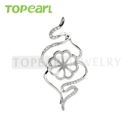 Wholesale Sterling Silver Blanks Wholesale - 9PM165 Teboer Jewelry 3pcs LOT Blank Pendant Jewelry Findings Sterling 925 Silver Mount for Attaching Pearls