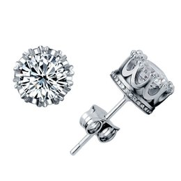 Wholesale Earring Stud Post Silver - New Arrival White 925 Silver Plated Stud Earrings Solitaire Cubic Zirconia Small Crown Post Earring Fashion Jewelry