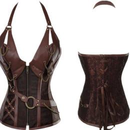 Wholesale Leather Corset Top Dresses - Sexy Lingerie Women Brown Black Leather Lace up Steampunk Dominatrix Corset Dress Lady PVC Waist Gothic Bustier Top Corset