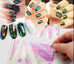Wholesale Aurora Models - Wholesale- 10cm explosion models Symphony irregular broken glass nail stickers nail Aurora platinum paper mirror glass paper