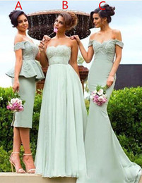 Wholesale Designer Beaded Wedding Gowns - 2017 Designer 3 Styles Bridesmaid Dresses Beaded Appliques Lace Off Shoulder Short  A-line Mermaid Elegant Formal Gown for Wedding