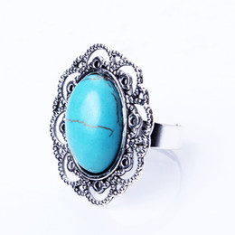 Wholesale Turquoise Rhinestone Ring - Vintage Flower Ring Women Alloy Antique Silver Plated Adjustable Cute Engagement Circle Rhinestone Hollow Turquoise Rings Fashion Jewelry