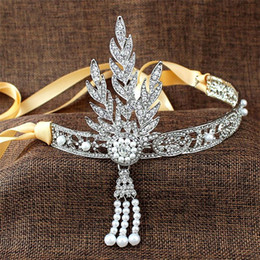 Wholesale Headband Rhinestones Wholesale - 2017 Hair Jewelry Great Gatsby Daisy Crystals Pearl Tassels Silver Wedding Bridal Tiaras And Crowns Headbands Rhinestone Zinc Alloy