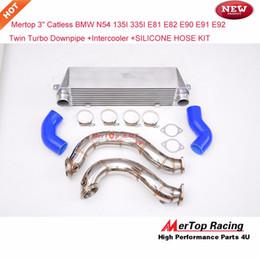 """Wholesale Intercooler Silicone Hoses - Mertop 3"""" Catless B** N54 E90 E91 E92 E82 E81 335i 135i Twin Turbo Downpipe + Intercooler+ SILICONE HOSE KIT 2006-2011"""