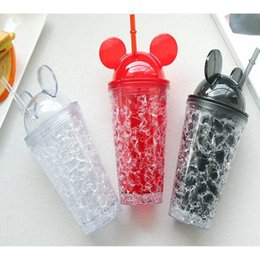 drink glasses double Promo Codes - 450ML Fashion Ice Cup Cold Drink Bottle Juice Beverage Plastic Drinkware With Straw Mickey Double-layer Refrigeration Ice Bottle 3Color