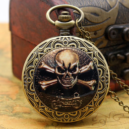 Wholesale Gothic Skull Watches - Wholesale-Gothic Skull Style Pocket Watch With Necklace Chain Free Shipping Best Gift For Boys Men