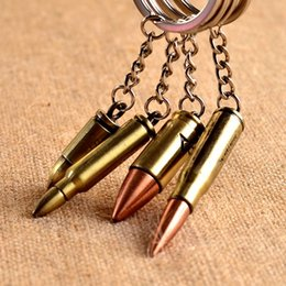 Wholesale Metal Bullet Bronze - Fashion Antique Bronze Plated Bullet Keychain Metal Key Chain Souvenir Creative Gift Keyring Trinket llavero PWK0479
