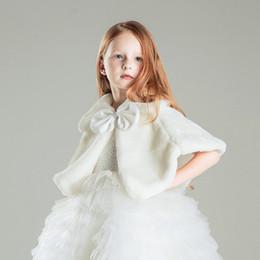 Wholesale Winter Coats Japan - Girls Winter Coat Princess Bowknot Girls Plush Faux Fur Cape Cloak Wedding Shawl Cape For Girls Tippet Kids Jacket