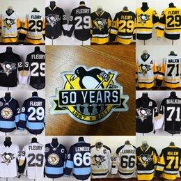 Wholesale Lemieux Jerseys - 50 Years Patch Pittsburgh Penguins Jersey Men's 66 Mario Lemieux 71 Evgeni Malkin 29 Marc-Andre Fleury 72 Patric Hornqvist Hockey Jerseys