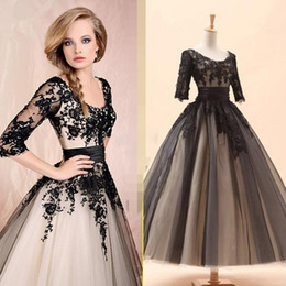 fashion wearing tea length Coupons - 2019 Champagne Black Lace Appliques Short Evening Dress 3 4 Sleeves Tea Length Bridal Gown Black Formal Gown Prom Dresses