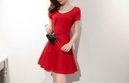Wholesale Slim Dresses Korea - 2017 summer new women's South Korea purchasing behind the cross-stitch Slim short-sleeved sexy dress skirt HL