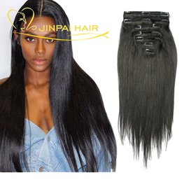 Wholesale Straight Hair Extensions Clips - JP Hair Brazilian Clip In Human Hair Extensions 7 Pieces 14 Clips Peruvian Indian Malaysian Virgin Straight Hair