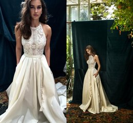 Wholesale Cowl Neck Beach Wedding Dresses - Vintage Ivory Boho Beach Wedding Dresses Custom Make New Design high neck A-line Country Bohemian Cheap Wedding Gown Dolce vita by Lihi Hod