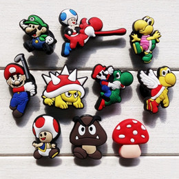 Wholesale Mario Bros Charms Wholesale - 100pcs lot Super Mario Bros Cartoon PVC Shoe Charms Shoes Accessories Fit Wristband Bracelets Kid Best Gift Party Favors Accessories