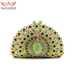 Wholesale Nobles Chains - Wholesale-Noble Lady Luxury Crystal Clutches Party Handbag Peacock Shape Women Wedding Clutch Evening Bag Green Gold Silver Pink Wholesale