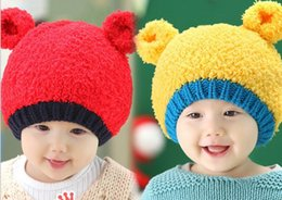 Wholesale Bear Beanie Babies - 2016 Winter New Style Baby Hats Cartoon Bear Ears Colorful Woolen Hats Newborn Beanie 8-36M MZ2199