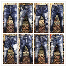 Wholesale Men Italian Pants - New arrival famous luxury italian Brand slim fit summer DSQ fashion patchwork denim ripped biker ripped skinny jeans hole for men