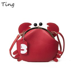 Wholesale Small Ears Cartoons - Wholesale- 2017 New Cute Crab Ears ladies small shoulder bags femmes messenger sacs vintage branded handbags for women funny trapeze bag