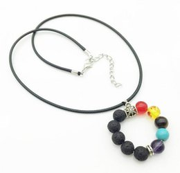 Wholesale tibetan chokers - Handmade Beaded Tibetan Silver Lava Stone Agate Pendant Necklaces Colorful Natural Stone Leather Rope Chokers Men Women Stretch Yoga Jewelry