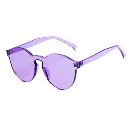 Wholesale Top Candy Brands - 2017 Brand Design Girl Top Quality Transparent Glasses Round frame Candy Women Sunglasses Chunky Sun Shades female So popular Glasses Gift