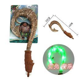 Wholesale Lightsaber Wholesale - Moana Cartoon Toy Boy Led Maui's Magic Weapon Hook Knife Kids Gift The Lightsaber Toy with Music And Light Hook Knife