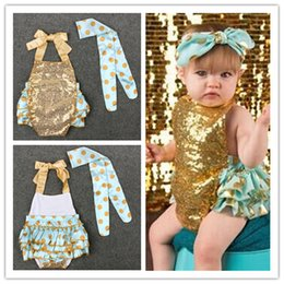 Wholesale Lace Headbands Diy - Baby Girls Sequins Romper 2pc sets DIY Headband Bling bling Dots Lace Up Romper cute baby infants summer outfits for 0-3T