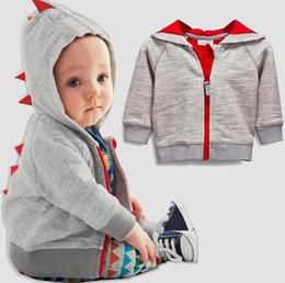Wholesale Boys Dinosaur Hoodies - 2017 Autumn Infant Baby Boys Hoodies Coat Kids Long Sleeve Dinosaur Cardigan Outwear Zipper Cotton Jacket Coats W022