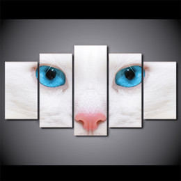 Wholesale 12x18 White Picture Frame - 5 Piece Framed HD Printed White Cat Blue Eyes Canvas Art Painting Poster Picture Home Decor Reproduction Painting