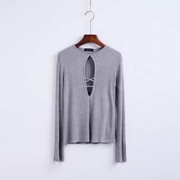 Wholesale Bulk Shirts - European New Fashion Summer Women Winter Tops New Retro Chest Cross Hollow Elastic Neck Long Sleeved Bulk T-shirt Women Slim Knitting Shirt
