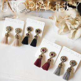 Wholesale Thread Chandelier Earring - NEW Rhinestone Long Tassel Dangle Earrings for Women Thread Fringe Drop Earrings 2A4021