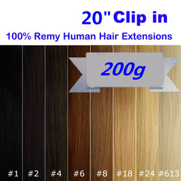 Wholesale Clip Hair Extensions Highlights - Thick Deluxe Clip in 100% Real Remy Human Hair Extensions Brown Blonde Black Highlight Ombre color Straight European Human Hair
