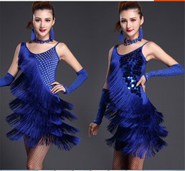 Wholesale Sexy Cowboys Clothing - 4color diamond tassel dress Sexy Latin Rumba Samba cowboy costumes on the Sasa ballroom competition clothing group (including accessories)