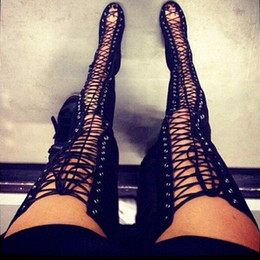 Wholesale Sexy Rainboots - Sexy Thigh High Cut-outs Lace Up Summer Boots Gladiator Sandals Black suede Tight Over Knee High Heels Women Shoes Plus Size 42